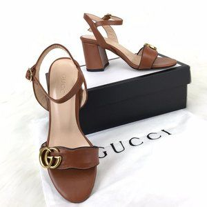Gucci Mid-Heel  GG Sandals %100 Leather base 37